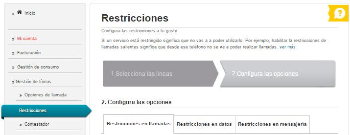 Restricciones de línea