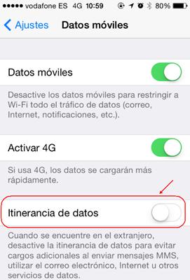 itinerancia de datos para roaming