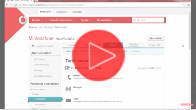 Consultar tarifa desde Mi Vodafone