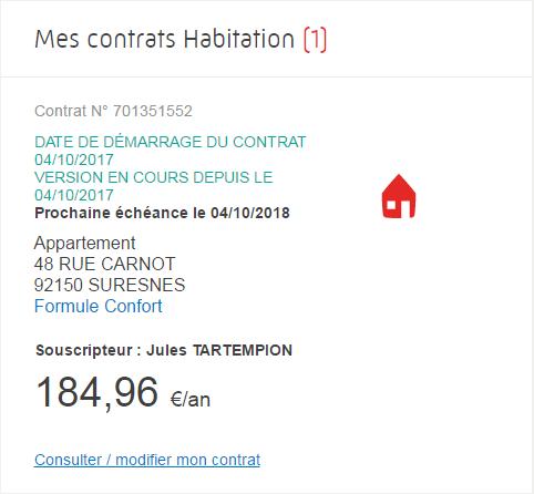 Direct assurance - Consulter modifier contrat habitation