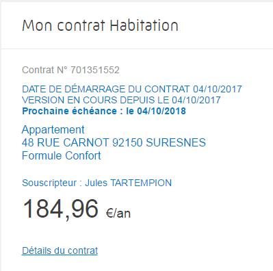 Direct Assurance - Details contrat habitation